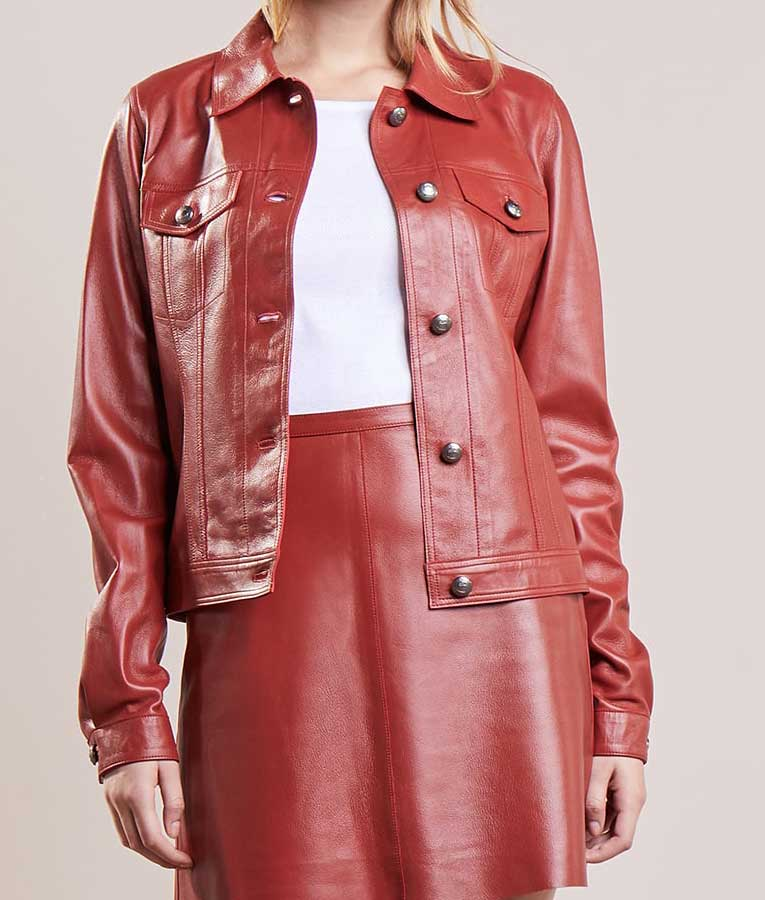 Red leather buttoned plain jacket for women usa jacket for Red leather shirt for womens