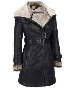 Womens Faux Shearling Black Leather Moto Style Short Length Trench Jacket