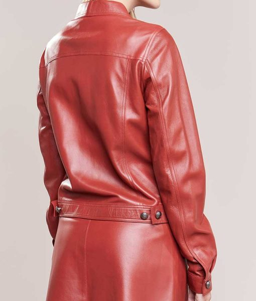 Red Leather Buttoned Plain Jacket For Women