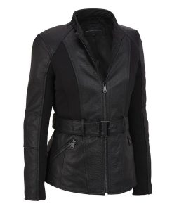 Womens Belted Trench Black Leather Jacket