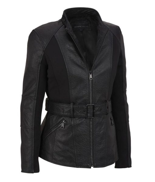 Womens Casual Trench Style Belted Leather Jacket