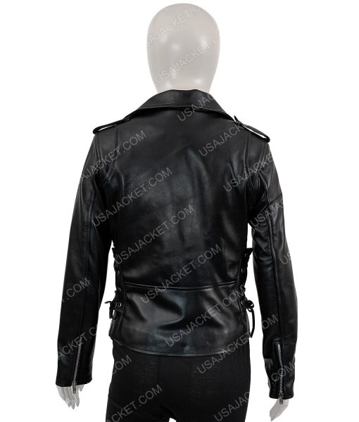 Womens Classic Style Motorcycle Black Leather Jacket
