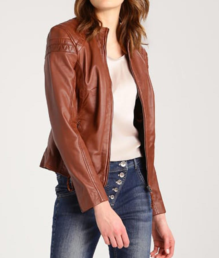 Caf 233 Racer Style Womens Brown Leather Jacket Usa Jacket
