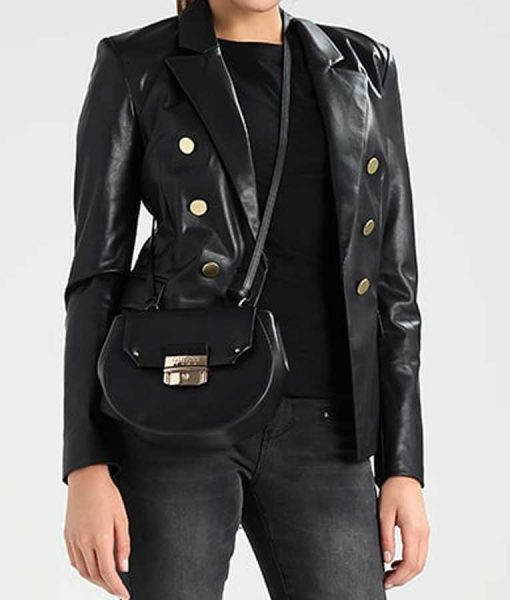 Black Leather Womens Double Breasted Blazer Jacket