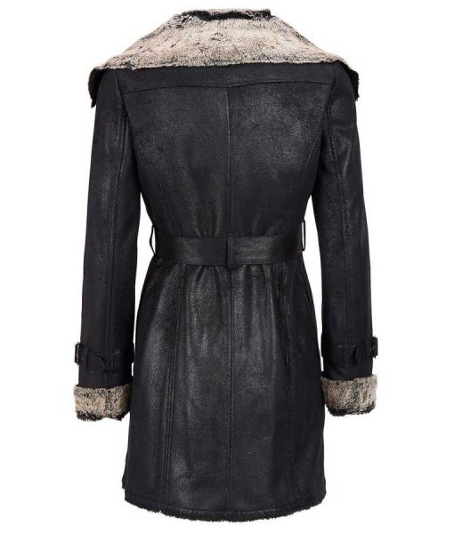 Womens Black Moto Style Short Trench Jacket