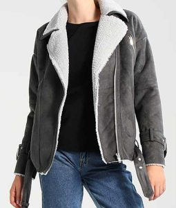 Womens Grey Leather Shearling Motorcycle Jacket