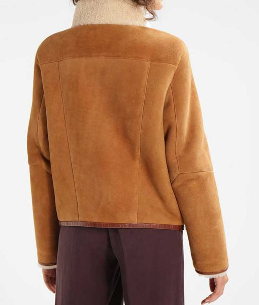 Womens Brown Suede Leather Detailed Giant Pockets Shearling Jacket