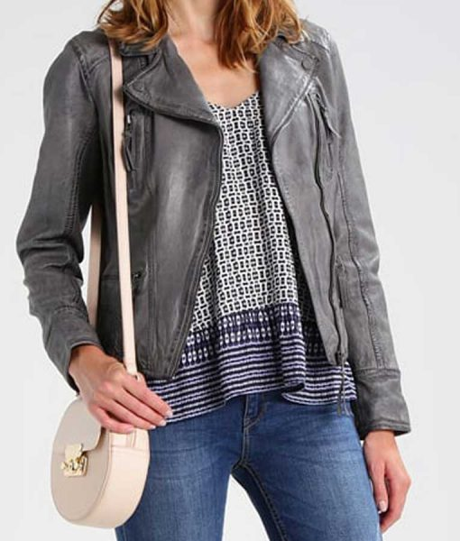 Womens Multi-Pockets Motorcycle Style Grey Leather Jacket