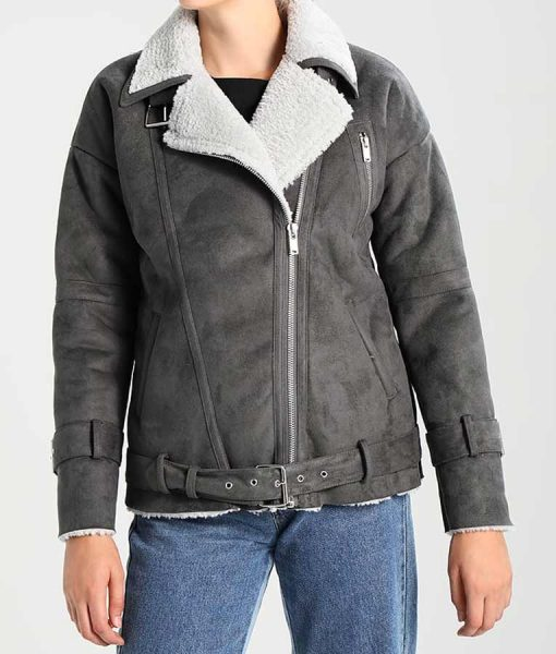 Grey Leather Womens Faux Shearling Motorcycle Jacket
