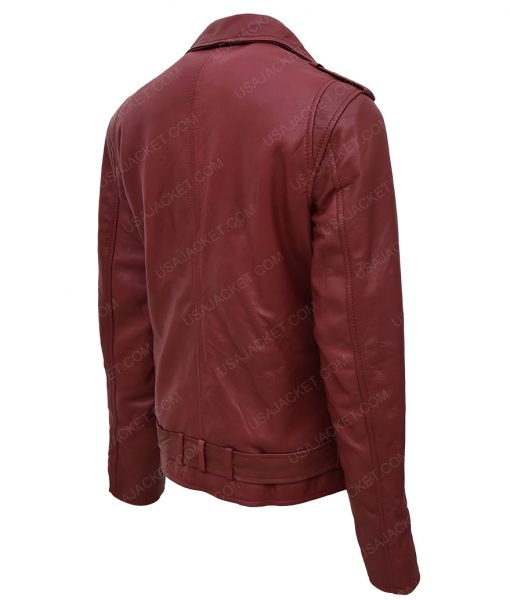 Womens Maroon Motorcycle Leather Jacket