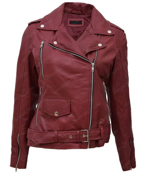 Womens Maroon Motorcycle Jacket
