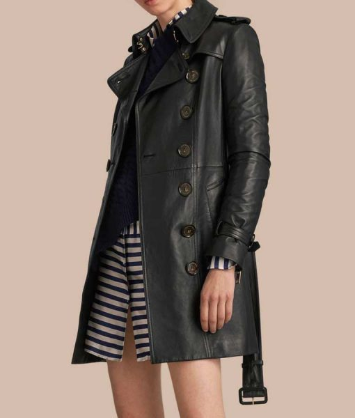 Black Leather Womens Double Breasted Mid-Length Trench Coat