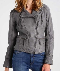 Grey Leather Womens Motorcycle Jacket