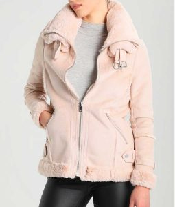Pink Leather Womens Shearling Jacket