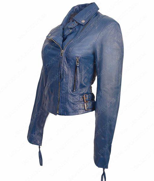 Womens Blue Lambskin Leather Motorcycle Jacket
