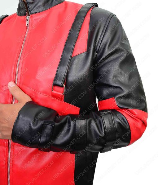 Red And Black Deadpool Gaming Leather Jacket