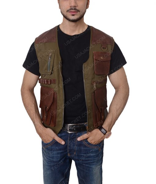 Chris Pratt Jurassic World Owen Grady Brown Leather Vest