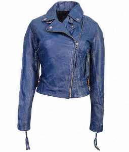 Womens Blue Lambskin Moto Jacket