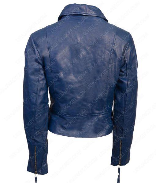 Blue Lambskin Leather Womens Biker Jacket
