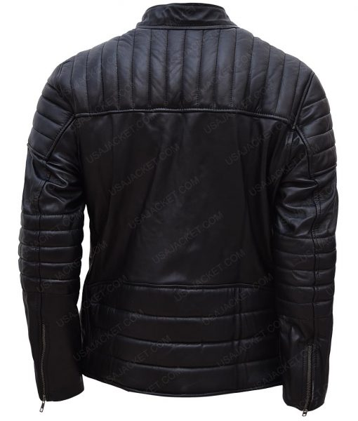 Accident Man Mike Fallon Scott Adkins Black Leather Padded Jacket