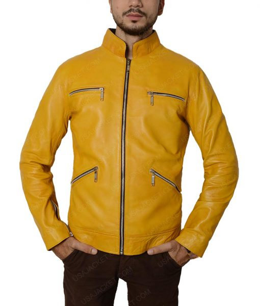 Samuel Barnett Yellow Slimfit Leather Jacket