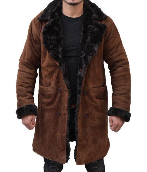 Brad Pitt Mickey O'Neil Snatch Suede Leather Coat