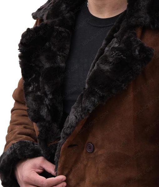 Brad Pitt Mickey O'Neil Snatch Suede Leather Fur Coat