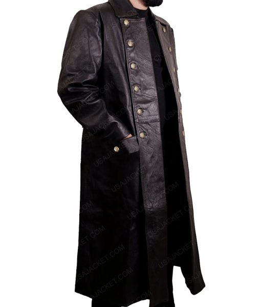 Declan Harp Frontier Jason Momoa Black Leather Trench Coat