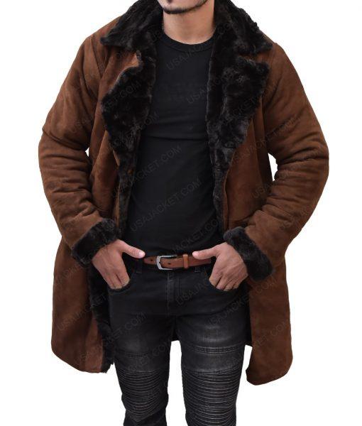 Brad Pitt Suede Leather Fur Coat