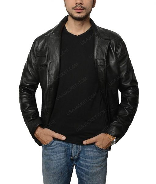 Distressed Black Leather Jacket
