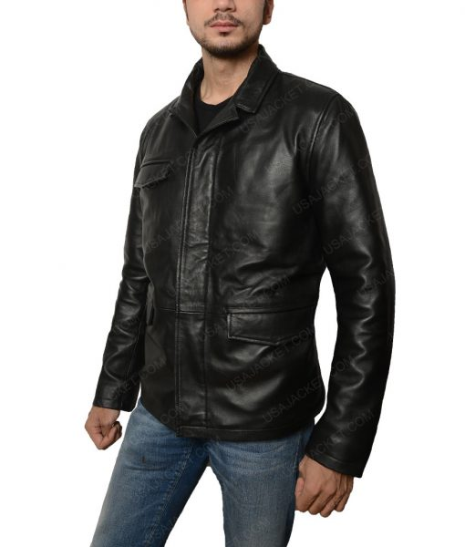 Moon Ricky Whittle Distressed Black Leather Jacket