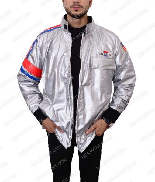 Silver Satin Bomber Jacket
