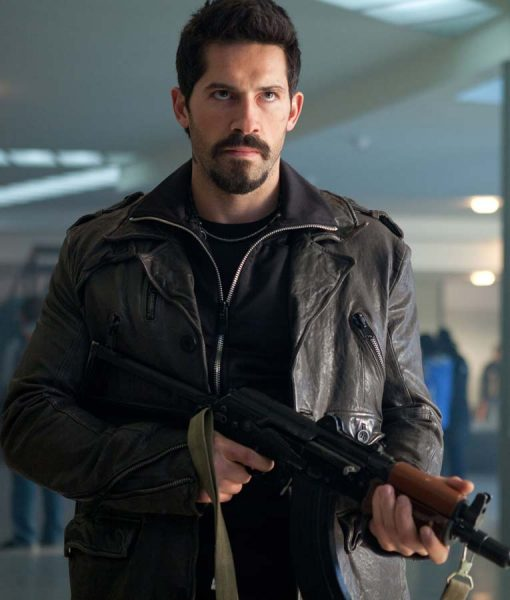 Scott Adkins The Expendables 2 Brown Leather Jacket