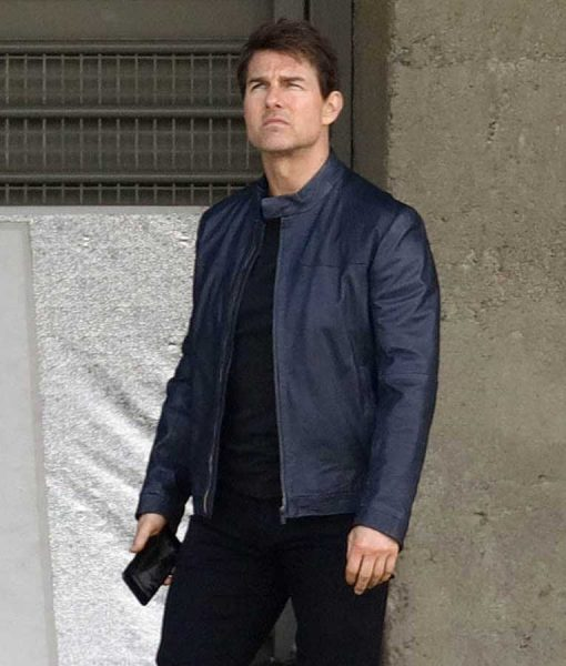 Ethan Hunt MI6 Cafe Racer Leather Jacket