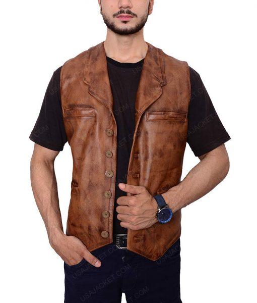 Wil Andersen Distressed Brown Leather Vest