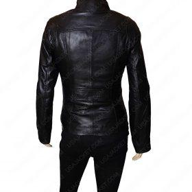 Mandarin Collar Women Black Leather Jacket