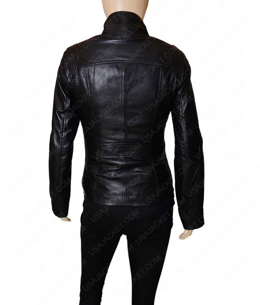Mandarin Collar Women Black Leather Jacket