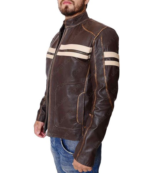 Distressed Dark Brown Cafe Racer Jacket
