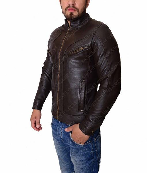 Multipockets Mens Leather Jacket
