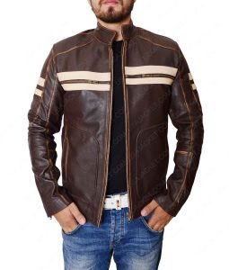 Mens 2 Stripes Dark Brown Cafe Racer Jacket