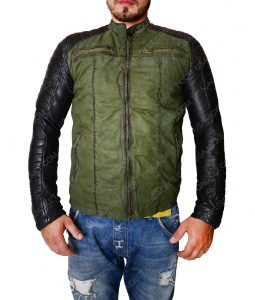 Khaki Vistage Leather Sleeves Moto Jacket
