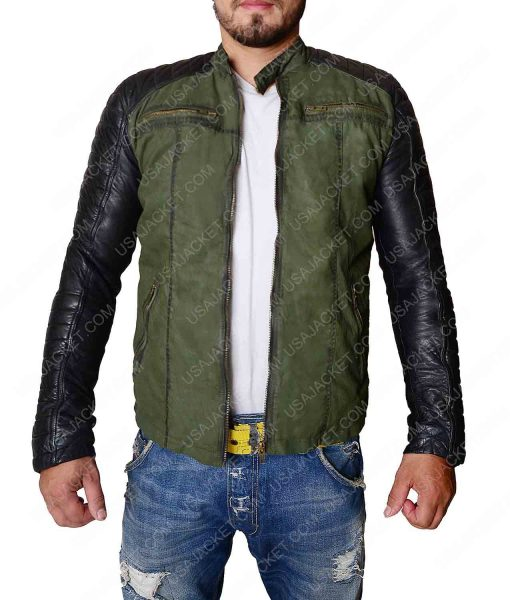 Mens Khaki Green Vintage Leather Sleeves Jacket