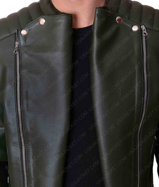 Kid Cudy Collarless Leather Jacket
