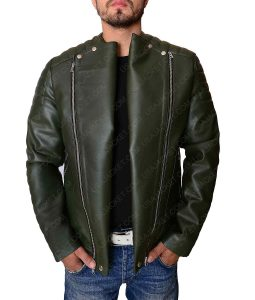 Kid Cudy Quilted Collarless Dark Green Leather Jacket