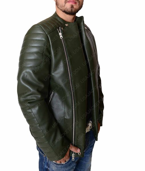 Kid Cudi Dark Green Collarless Leather Jacket
