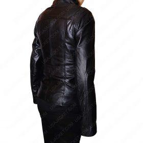 Women Black Leather Mandarin Collar Jacket