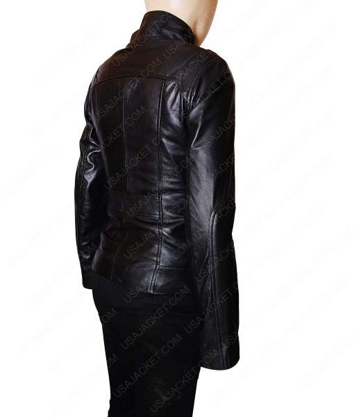 Women Black Leather Mandarin Collar Jacket