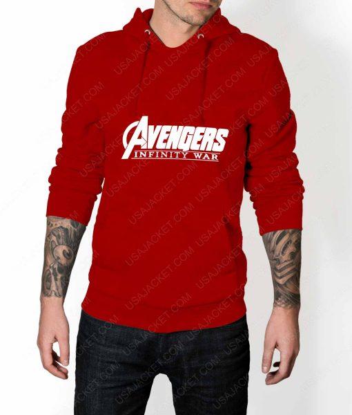 Men Avengers Infinity War Logo Red Hoodie