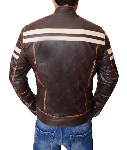 Mens Dark Brown 2 Stripes Cafe Racer Jacket