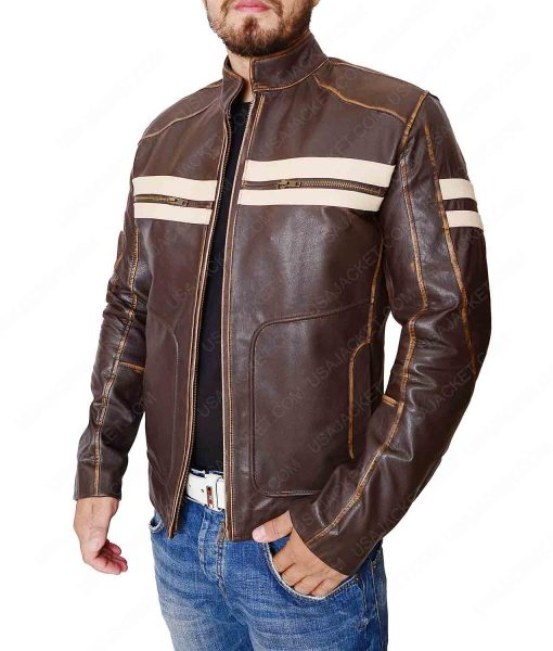 Mens Dark Brown White Stripes Cafe Racer Jacket